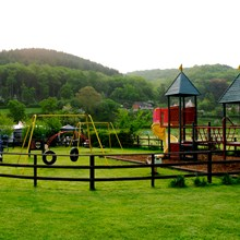 The on-site play area for the younger guests at Lucksall Caravan & Camping Park.