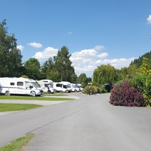 Large flat pitches at Lucksall Caravan Park